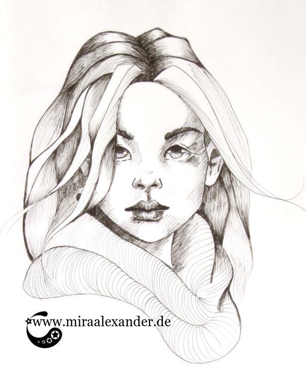 Eine weitere Multiliner-Zeichnung eines Frauenkopfes im Rahen des #SSBD17-Challenges von Mira Alexander.