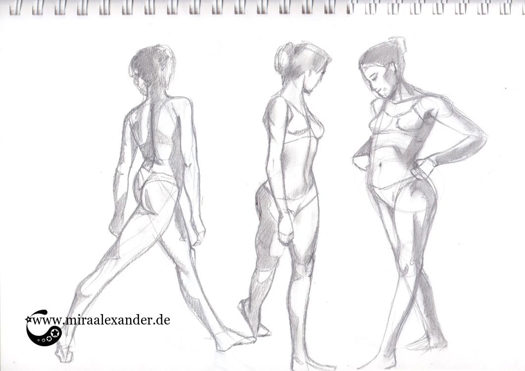 Das sexy Bäuchle, von Mira Alexander. Graphitstudie dreier weiblichen Figuren.