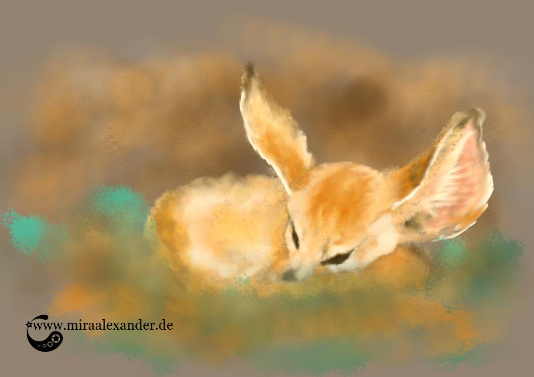 Gute Nacht, schöne Träume! Digiale Zeichnung eines Wüstenfuchses von Mira Alexander.