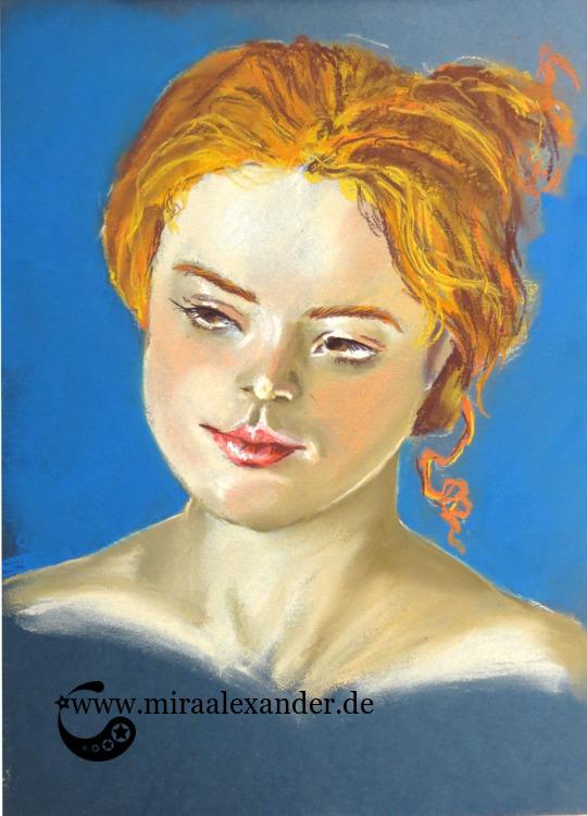 Pastellzeichnung eines Frauenkopfes auf Tonkarton von Mira Alexander.