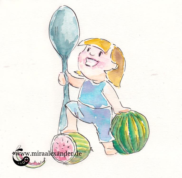 Comic-Zeichnung mit einem Kind, dass eine Wassermelone bezwungen hatte, von Mira Alexander.
