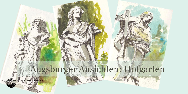 Eine Zeichnung von drei Statuen aus dem Augsburger Hofgarten von Mira Alexander.
